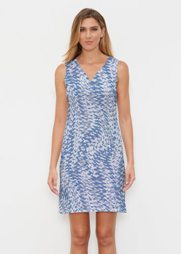 Textured Tracks Blue (7737) ~ Classic Sleeveless Dress
