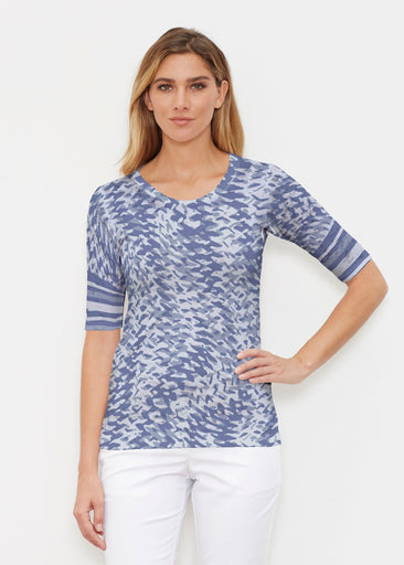 Textured Tracks Blue (7737) ~ Signature Elbow Sleeve Crew Shirt