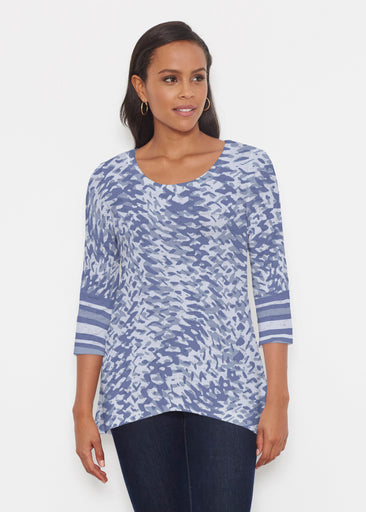 Textured Tracks Blue (7737) ~ Katherine Hi-Lo Thermal Tunic