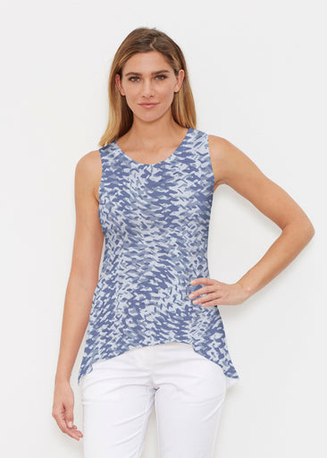 Textured Tracks Blue (7737) ~ Signature High-low Tank