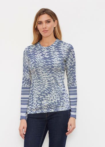 Textured Tracks Blue (7737) ~ Butterknit Long Sleeve Crew Top