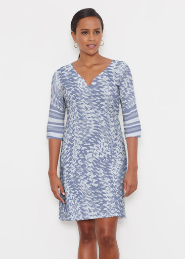 Textured Tracks Blue (7737) ~ Classic 3/4 Sleeve Sweet Heart V-Neck Dress
