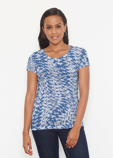 Textured Tracks Blue (7737) ~ Signature Short Sleeve Scoop Shirt