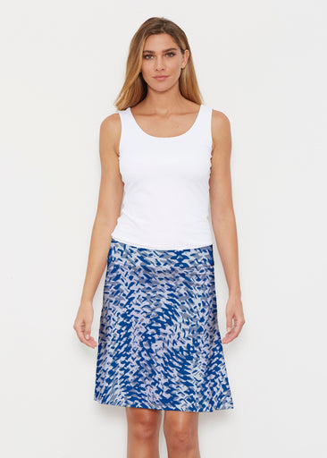 Textured Tracks Blue (7737) ~ Silky Brenda Skirt 21 inch