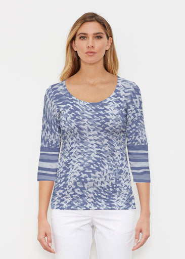 Textured Tracks Blue (7737) ~ Signature 3/4 Sleeve Scoop Shirt