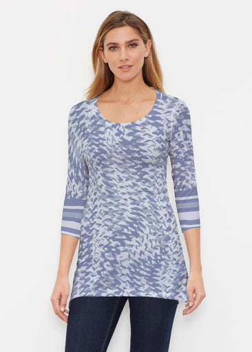 Textured Tracks Blue (7737) ~ Buttersoft 3/4 Sleeve Tunic