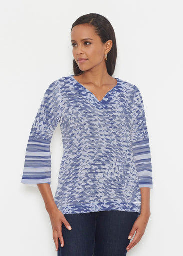 Textured Tracks Blue (7737) ~ Banded 3/4 Bell-Sleeve V-Neck Tunic