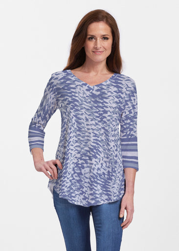 Textured Tracks Blue (7737) ~ Signature V-neck Flowy Tunic