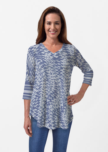 Textured Tracks Blue (7737) ~ Butterknit V-neck Flowy Tunic