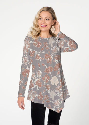 Melina Blooms Multi  (7751) ~ Asymmetrical French Terry Tunic