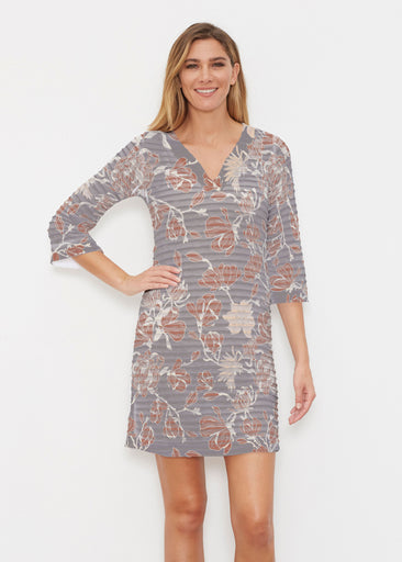 Melina Blooms Multi (7751) ~ Banded 3/4 Sleeve Cover-up Dress