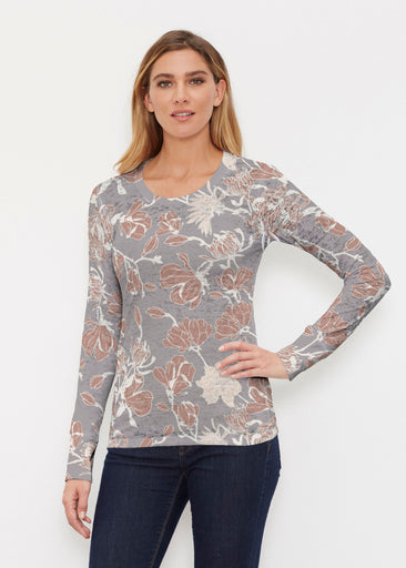 Melina Blooms Multi (7751) ~ Thermal Long Sleeve Crew Shirt