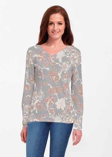 Melina Blooms Multi (7751) ~ Classic V-neck Long Sleeve Top