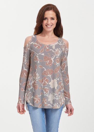 Melina Blooms Multi (7751) ~ Butterknit Cold Shoulder Tunic