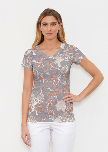 Melina Blooms Multi (7751) ~ Signature Cap Sleeve V-Neck Shirt
