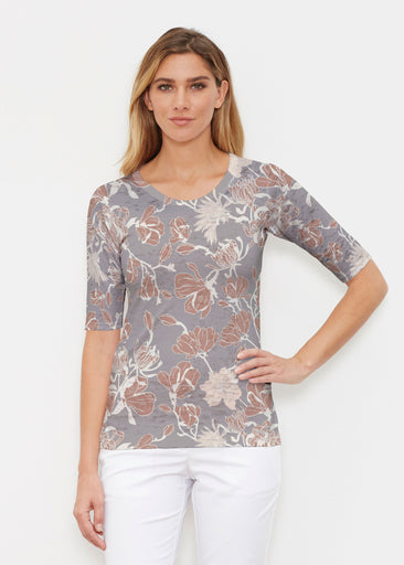 Melina Blooms Multi (7751) ~ Signature Elbow Sleeve Crew Shirt