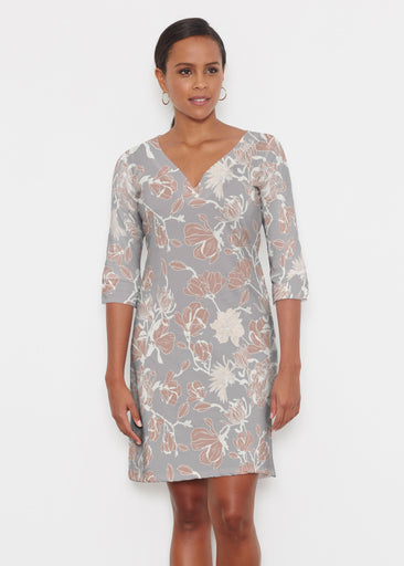 Melina Blooms Multi (7751) ~ Classic 3/4 Sleeve Sweet Heart V-Neck Dress