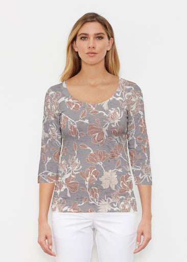 Melina Blooms Multi (7751) ~ Signature 3/4 Sleeve Scoop Shirt