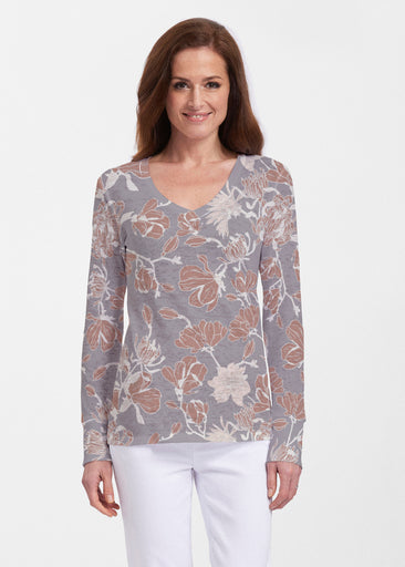 Melina Blooms Multi (7751) ~ Thermal Long Sleeve V-Neck Shirt