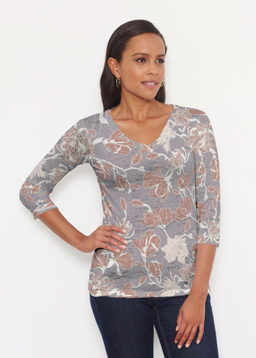 Melina Blooms Multi (7751) ~ Signature 3/4 V-Neck Shirt