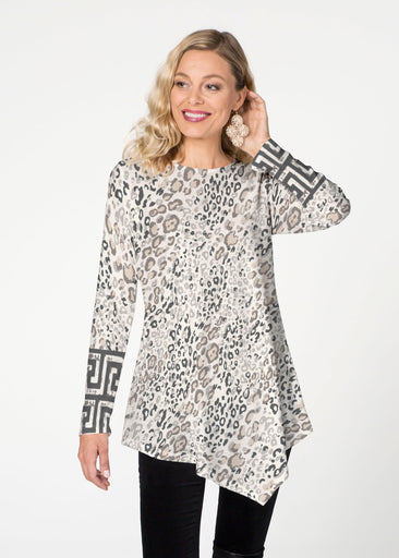 Greek Cat Grey  (7752) ~ Asymmetrical French Terry Tunic