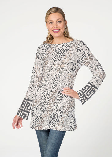 Greek Cat Grey (7752) ~ Banded Boatneck Tunic