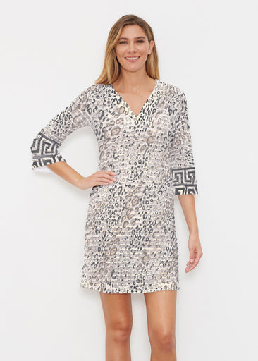 Greek Cat Grey (7752) ~ Banded 3/4 Sleeve Cover-up Dress