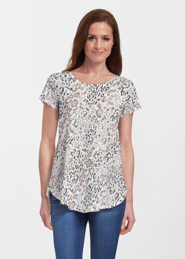 Greek Cat Grey (7752) ~ Signature Short Sleeve Scoop Neck Flowy Tunic