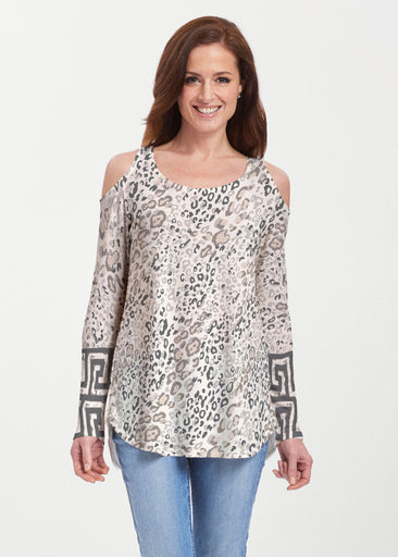 Greek Cat Grey (7752) ~ Butterknit Cold Shoulder Tunic