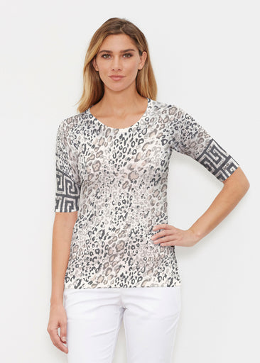 Greek Cat Grey (7752) ~ Signature Elbow Sleeve Crew Shirt