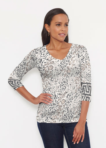 Greek Cat Grey (7752) ~ Signature 3/4 V-Neck Shirt