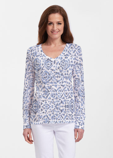 Batik Zebra (7753) ~ Thermal Long Sleeve V-Neck Shirt