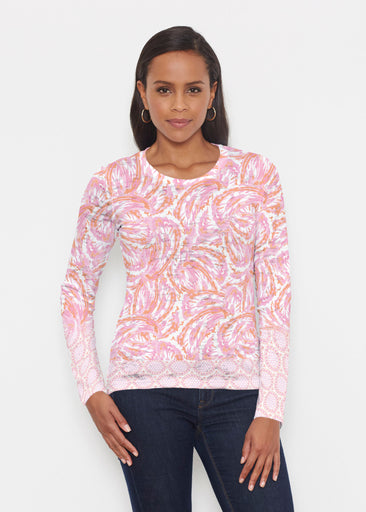 Coastal Paisley Pink (7754) ~ Signature Long Sleeve Crew Shirt