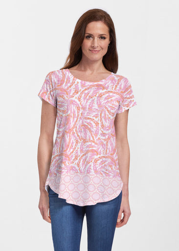 Coastal Paisley Pink (7754) ~ Signature Short Sleeve Scoop Neck Flowy Tunic