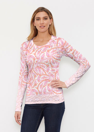 Coastal Paisley Pink (7754) ~ Thermal Long Sleeve Crew Shirt