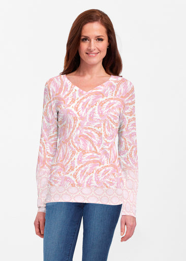 Coastal Paisley Pink (7754) ~ Classic V-neck Long Sleeve Top