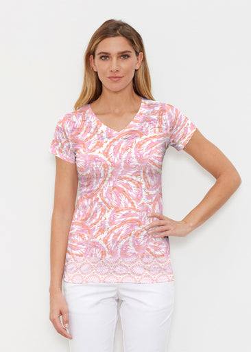 Coastal Paisley Pink (7754) ~ Signature Cap Sleeve V-Neck Shirt