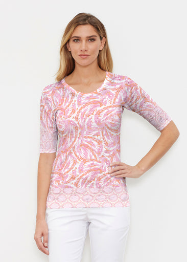 Coastal Paisley Pink (7754) ~ Elbow Sleeve Crew Shirt