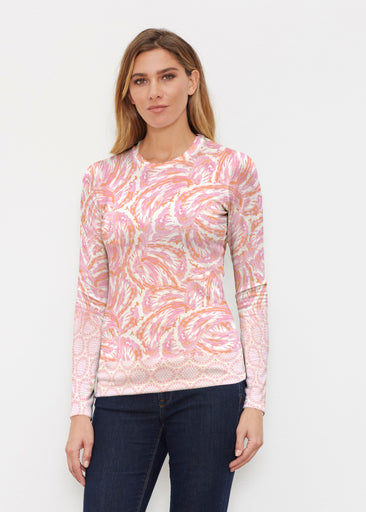 Coastal Paisley Pink (7754) ~ Butterknit Long Sleeve Crew Top