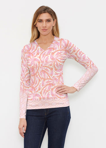 Coastal Paisley Pink (7754) ~ Butterknit Long Sleeve V-Neck Top