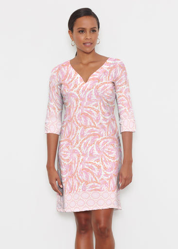 Coastal Paisley Pink (7754) ~ Classic 3/4 Sleeve Sweet Heart V-Neck Dress