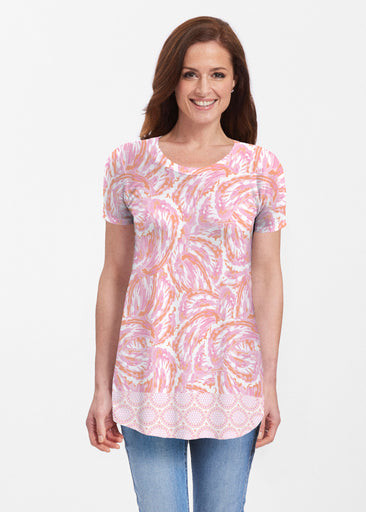 Coastal Paisley Pink (7754) ~ Butterknit Short Sleeve Tunic