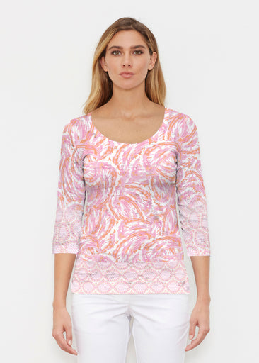 Coastal Paisley Pink (7754) ~ Signature 3/4 Sleeve Scoop Shirt