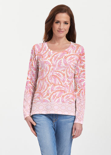 Coastal Paisley Pink (7754) ~ Texture Mix Long Sleeve