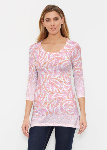 Coastal Paisley Pink (7754) ~ Buttersoft 3/4 Sleeve Tunic