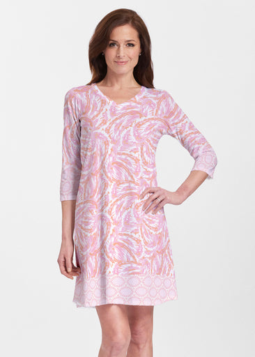 Coastal Paisley Pink (7754) ~ Classic V-neck Swing Dress
