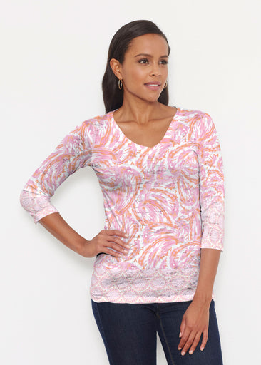 Coastal Paisley Pink (7754) ~ Signature 3/4 V-Neck Shirt