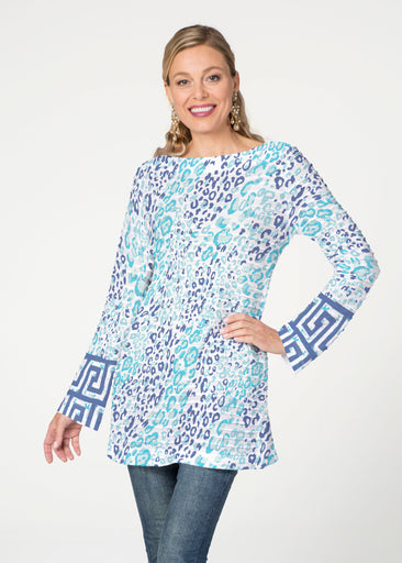 Cat Blue (7755) ~ Banded Boatneck Tunic