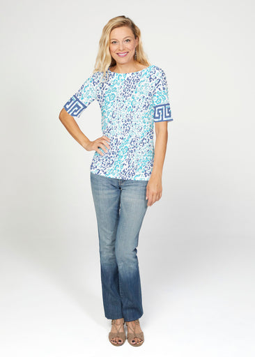 Cat Blue (7755) ~ Banded Elbow Sleeve Boat Neck Top