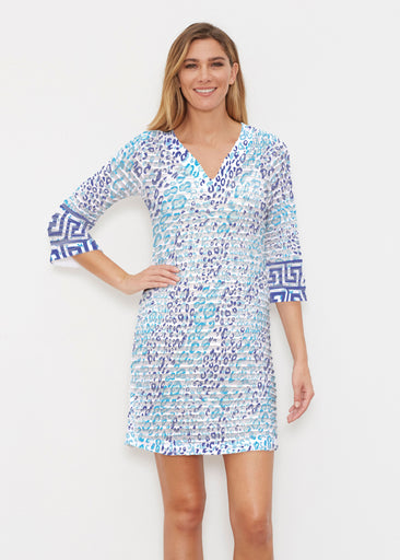 Cat Blue (7755) ~ Banded 3/4 Sleeve Cover-up Dress
